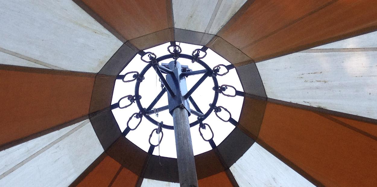 'uit'zicht naar boven door de parasol.
